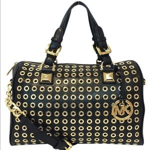 MICHAEL KORS Grayson Grommet Black Satchel Bag